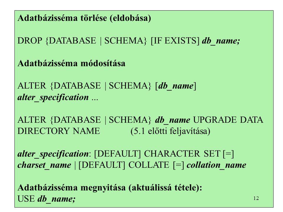 Adatbázisséma törlése (eldobása) DROP {DATABASE | SCHEMA} [IF EXISTS] db_name; Adatbázisséma módosítása ALTER {DATABASE | SCHEMA} [db_name] alter_specification...
