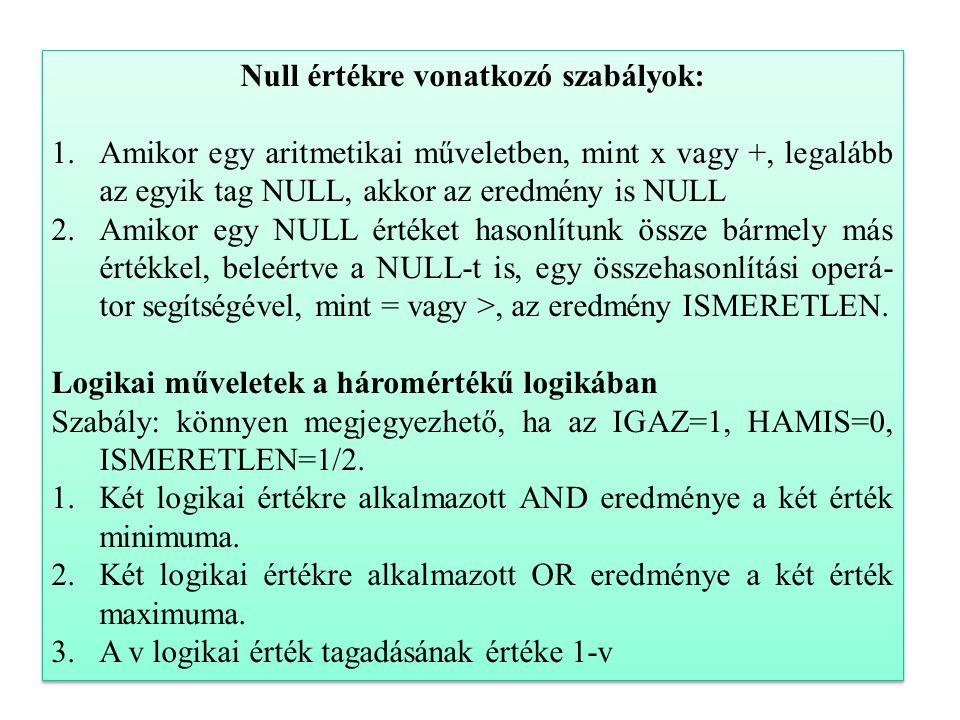 26 Null értékre vonatkozó szabályok: 1.Amikor egy aritmetikai műveletben, mint x vagy +, legalább az egyik tag NULL, akkor az eredmény is NULL 2.Amikor egy NULL értéket hasonlítunk össze bármely más értékkel, beleértve a NULL-t is, egy összehasonlítási operá- tor segítségével, mint = vagy >, az eredmény ISMERETLEN.