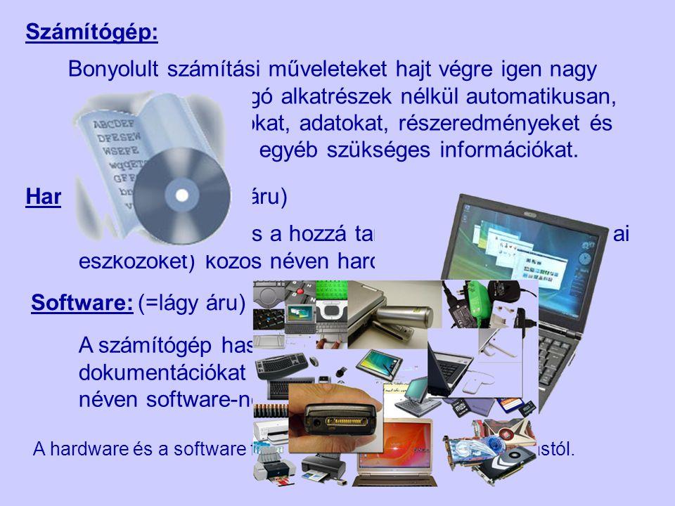 A számítógép felépítése Központi egység mikroprocesszor ROM RAM Bemeneti egység (Input) Bemeneti egység (Input) Kimeneti egység (Output) Kimeneti egység (Output) Be~ és kimeneti egység (I / O) Be~ és kimeneti egység (I / O) Billentyűzet Egér Monitor Nyomtató Winchester CD Egyéb perifériák Pen Drive