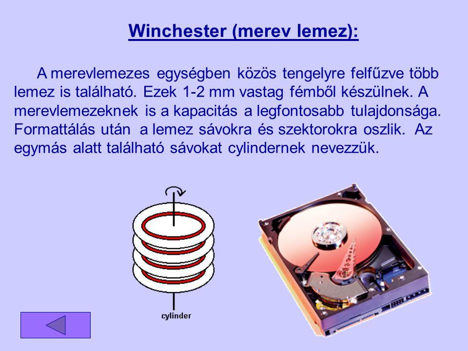Winchester (merev lemez): A merevlemezes egységben közös tengelyre felfűzve több lemez is található. Ezek 1-2 mm vastag fémből készülnek. A merevlemez