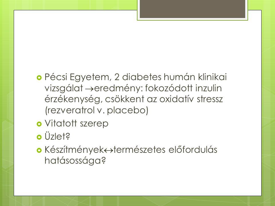  Pécsi Egyetem, 2 diabetes humán klinikai vizsgálat  eredmény: fokozódott inzulin érzékenység, csökkent az oxidatív stressz (rezveratrol v. placebo)