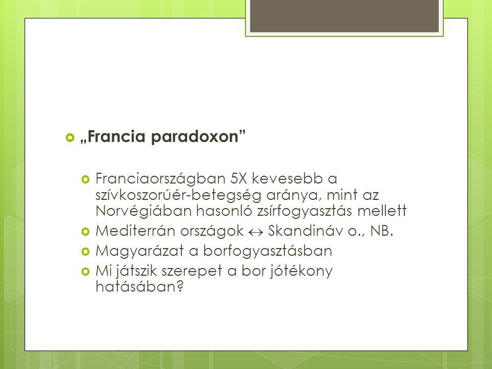 """ """"Francia paradoxon  Franciaországban 5X kevesebb a szívkoszorúér-betegség aránya, mint az Norvégiában hasonló zsírfogyasztás mellett  Mediterrán országok  Skandináv o., NB."""