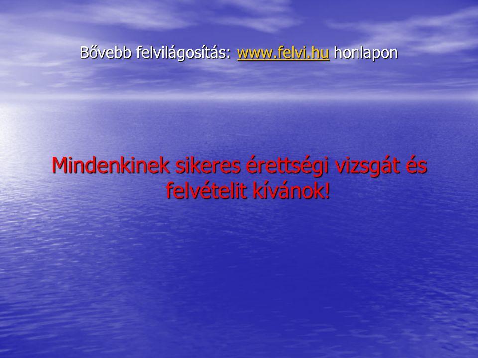 Bővebb felvilágosítás: www.felvi.hu honlapon www.felvi.hu Mindenkinek sikeres érettségi vizsgát és felvételit kívánok!
