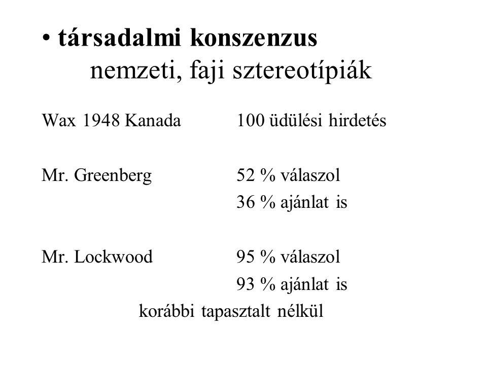 társadalmi konszenzus nemzeti, faji sztereotípiák Wax 1948 Kanada 100 üdülési hirdetés Mr.