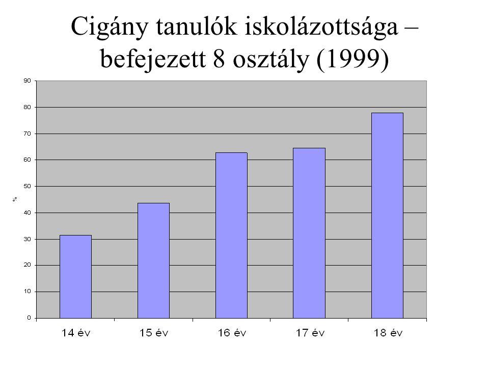 Cigány tanulók iskolázottsága – befejezett 8 osztály (1999)