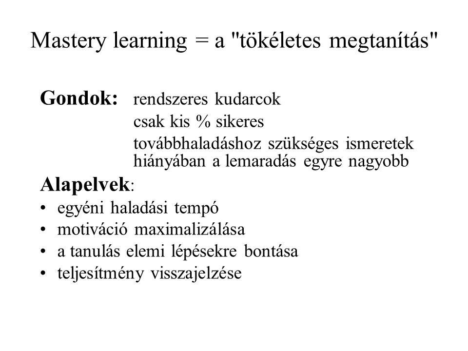 Mastery learning = a tökéletes megtanítás Gondok: rendszeres kudarcok csak kis % sikeres továbbhaladáshoz szükséges ismeretek hiányában a lemaradás egyre nagyobb Alapelvek : egyéni haladási tempó motiváció maximalizálása a tanulás elemi lépésekre bontása teljesítmény visszajelzése