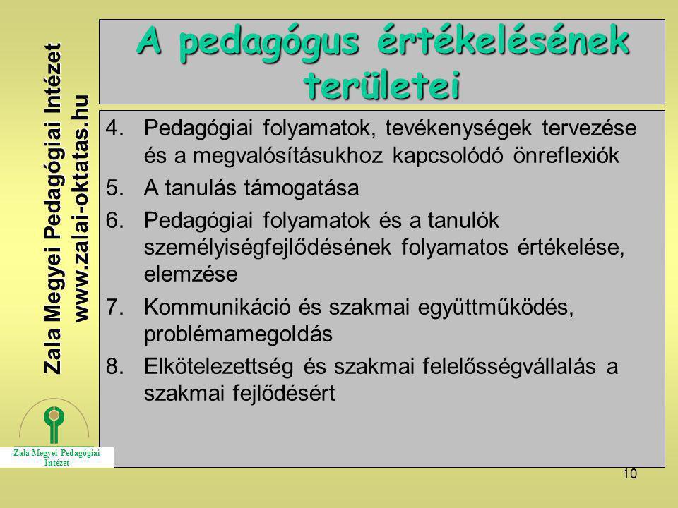 10 A pedagógus értékelésének területei 4.Pedagógiai folyamatok, tevékenységek tervezése és a megvalósításukhoz kapcsolódó önreflexiók 5.A tanulás támo
