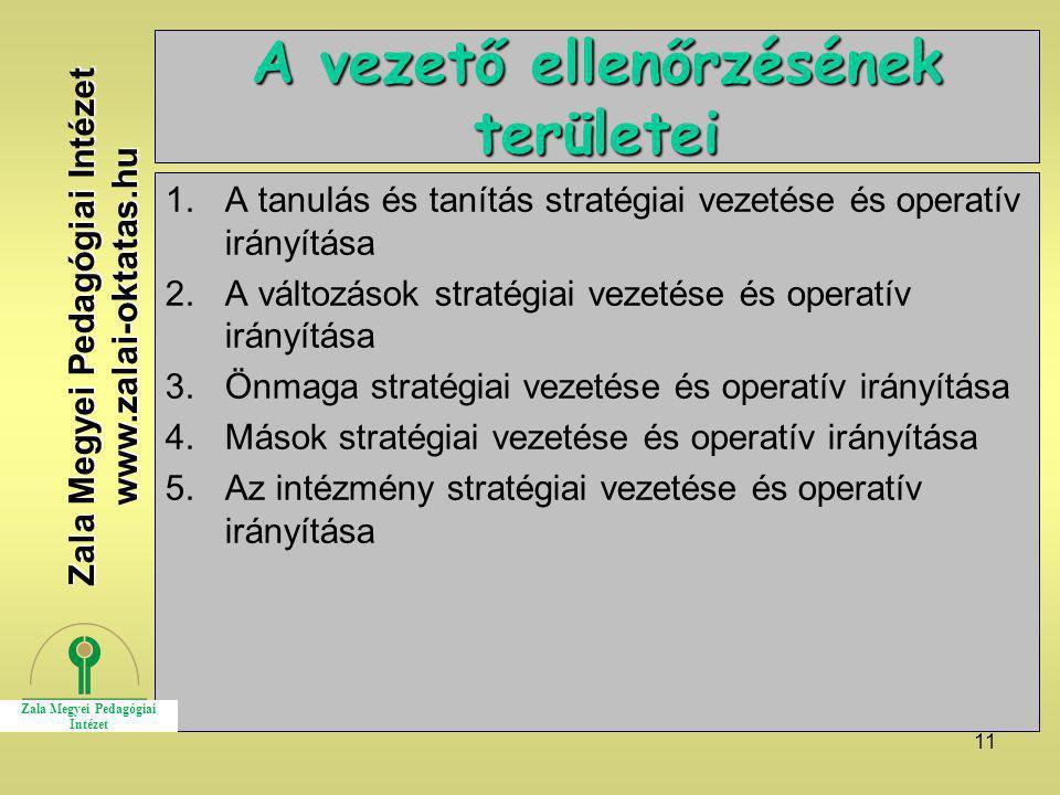11 A vezető ellenőrzésének területei 1.A tanulás és tanítás stratégiai vezetése és operatív irányítása 2.A változások stratégiai vezetése és operatív