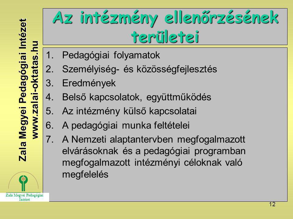 12 Az intézmény ellenőrzésének területei 1.Pedagógiai folyamatok 2.Személyiség- és közösségfejlesztés 3.Eredmények 4.Belső kapcsolatok, együttműködés