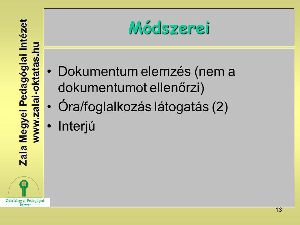13 Módszerei Dokumentum elemzés (nem a dokumentumot ellenőrzi) Óra/foglalkozás látogatás (2) Interjú Zala Megyei Pedagógiai Intézet www.zalai-oktatas.