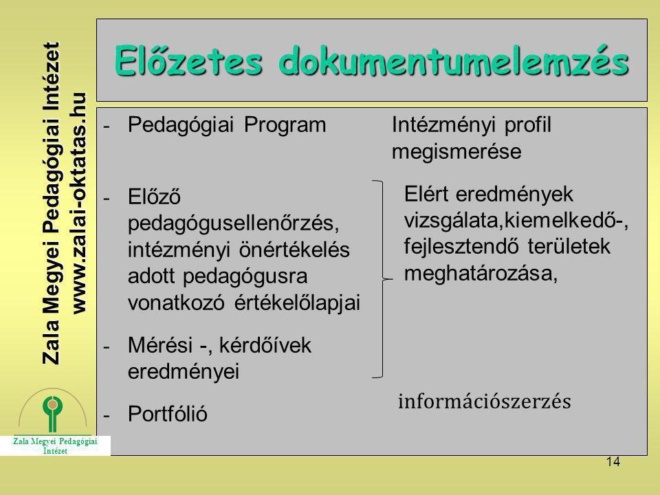 14 Előzetes dokumentumelemzés - Pedagógiai Program - Előző pedagógusellenőrzés, intézményi önértékelés adott pedagógusra vonatkozó értékelőlapjai - Mé