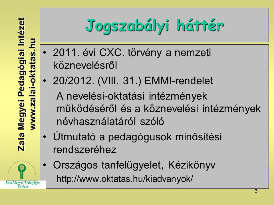 3 Jogszabályi háttér 2011. évi CXC. törvény a nemzeti köznevelésről 20/2012. (VIII. 31.) EMMI-rendelet A nevelési-oktatási intézmények működéséről és
