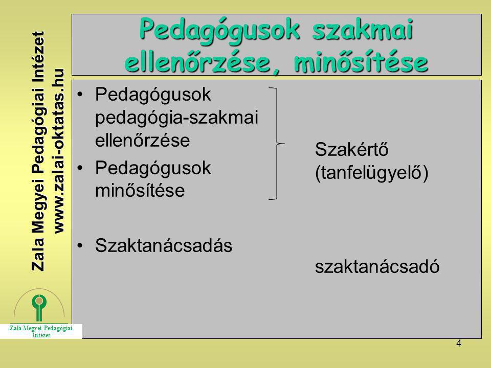 4 Pedagógusok szakmai ellenőrzése, minősítése Pedagógusok pedagógia-szakmai ellenőrzése Pedagógusok minősítése Szaktanácsadás Szakértő (tanfelügyelő)