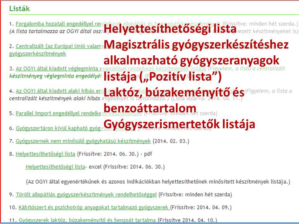 """Helyettesíthetőségi lista Magisztrális gyógyszerkészítéshez alkalmazható gyógyszeranyagok listája (""""Pozitív lista"""") Laktóz, búzakeményítő és benzoátta"""