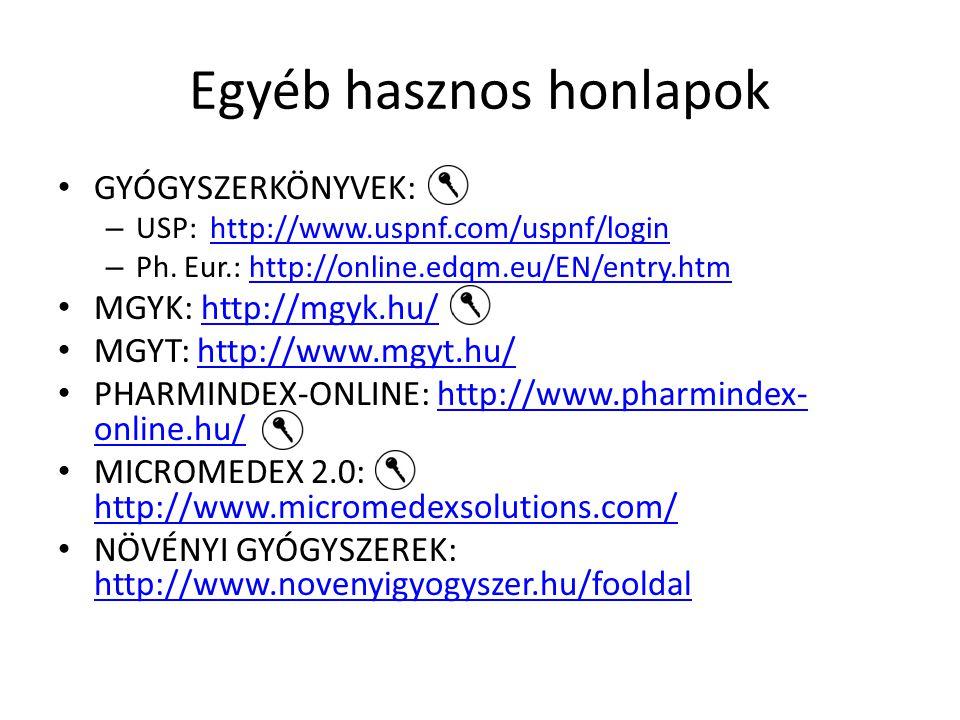 Egyéb hasznos honlapok Drugs: http://www.drugs.com/ (külföldi gyógyszerek)http://www.drugs.com/ Szervezetek: – International Pharmaceutical Federation International Pharmaceutical Federation – Pharmaceutical Group of the European Union Pharmaceutical Group of the European Union Kórházi gyógyszerészet: – MGYT Kórházi Gyógyszerészeti Szervezete MGYT Kórházi Gyógyszerészeti Szervezet – European Association of Clinical Pharmacists European Association of Clinical Pharmacists – http://www.hospitalpharmacyeurope.com/ http://www.hospitalpharmacyeurope.com/ Hírportálok: – Pharmaonline: http://www.pharmaonline.hu/http://www.pharmaonline.hu/ – Medicalonline: http://www.medicalonline.hu/http://www.medicalonline.hu/ – eLitMed: http://elitmed.hu/http://elitmed.hu/