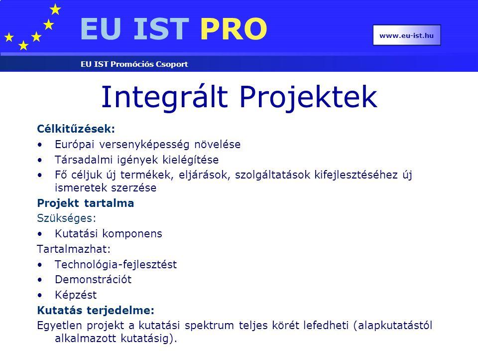 EU IST PRO EU IST Promóciós Csoport www.eu-ist.hu Integrált Projektek Célkitűzések: Európai versenyképesség növelése Társadalmi igények kielégítése Fő céljuk új termékek, eljárások, szolgáltatások kifejlesztéséhez új ismeretek szerzése Projekt tartalma Szükséges: Kutatási komponens Tartalmazhat: Technológia-fejlesztést Demonstrációt Képzést Kutatás terjedelme: Egyetlen projekt a kutatási spektrum teljes körét lefedheti (alapkutatástól alkalmazott kutatásig).