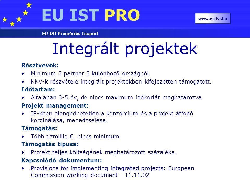 EU IST PRO EU IST Promóciós Csoport www.eu-ist.hu Integrált projektek Résztvevők: Minimum 3 partner 3 különböző országból. KKV-k részvétele integrált