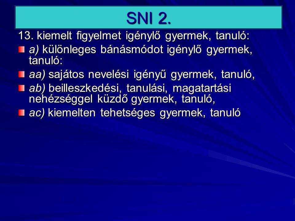SNI 2. 13. kiemelt figyelmet igénylő gyermek, tanuló: a) különleges bánásmódot igénylő gyermek, tanuló: aa) sajátos nevelési igényű gyermek, tanuló, a