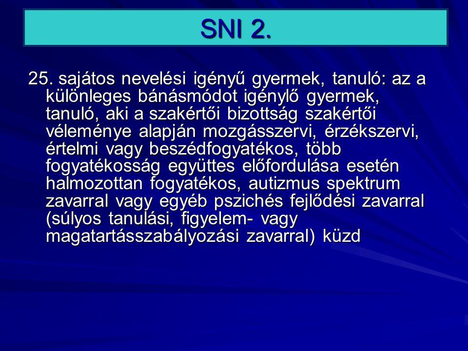 SNI 2. 25. sajátos nevelési igényű gyermek, tanuló: az a különleges bánásmódot igénylő gyermek, tanuló, aki a szakértői bizottság szakértői véleménye