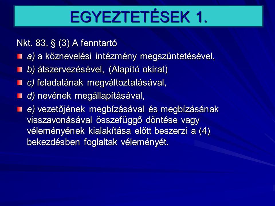 EGYEZTETÉSEK 1. Nkt. 83. § (3) A fenntartó a) a köznevelési intézmény megszüntetésével, b) átszervezésével, (Alapító okirat) c) feladatának megváltozt