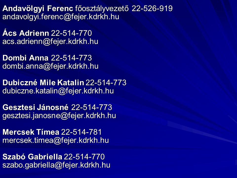 Andavölgyi Ferenc főosztályvezető 22-526-919 andavolgyi.ferenc@fejer.kdrkh.hu Ács Adrienn 22-514-770 acs.adrienn@fejer.kdrkh.hu Dombi Anna 22-514-773