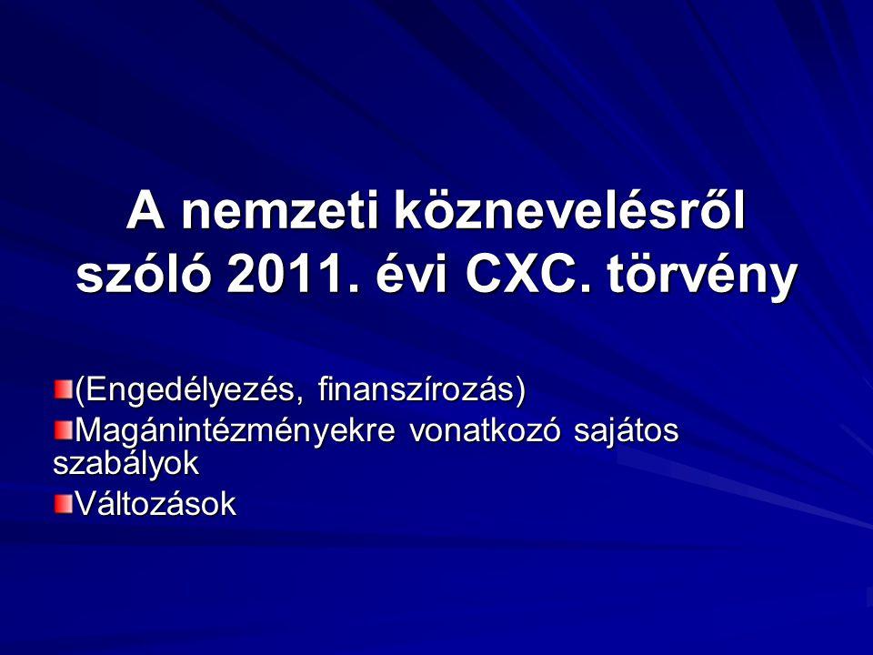 A nemzeti köznevelésről szóló 2011. évi CXC. törvény (Engedélyezés, finanszírozás) Magánintézményekre vonatkozó sajátos szabályok Változások