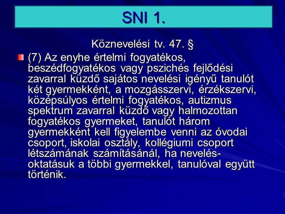 SNI 1. Köznevelési tv. 47. § (7) Az enyhe értelmi fogyatékos, beszédfogyatékos vagy pszichés fejlődési zavarral küzdő sajátos nevelési igényű tanulót