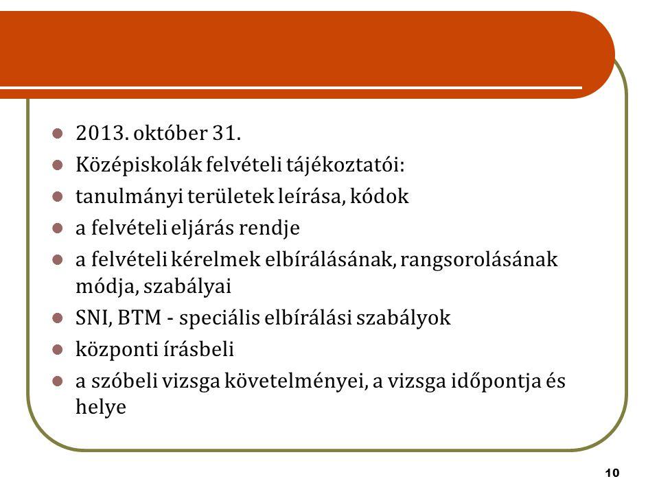 10 2013. október 31. Középiskolák felvételi tájékoztatói: tanulmányi területek leírása, kódok a felvételi eljárás rendje a felvételi kérelmek elbírálá