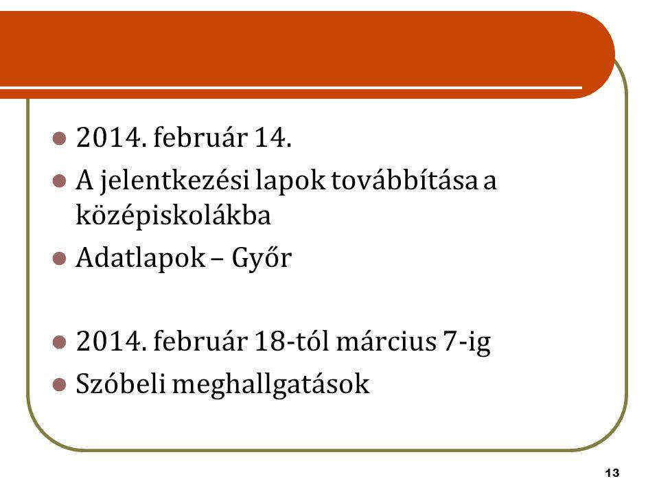 13 2014. február 14. A jelentkezési lapok továbbítása a középiskolákba Adatlapok – Győr 2014. február 18-tól március 7-ig Szóbeli meghallgatások