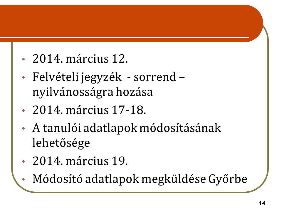 14 2014. március 12. Felvételi jegyzék - sorrend – nyilvánosságra hozása 2014. március 17-18. A tanulói adatlapok módosításának lehetősége 2014. márci