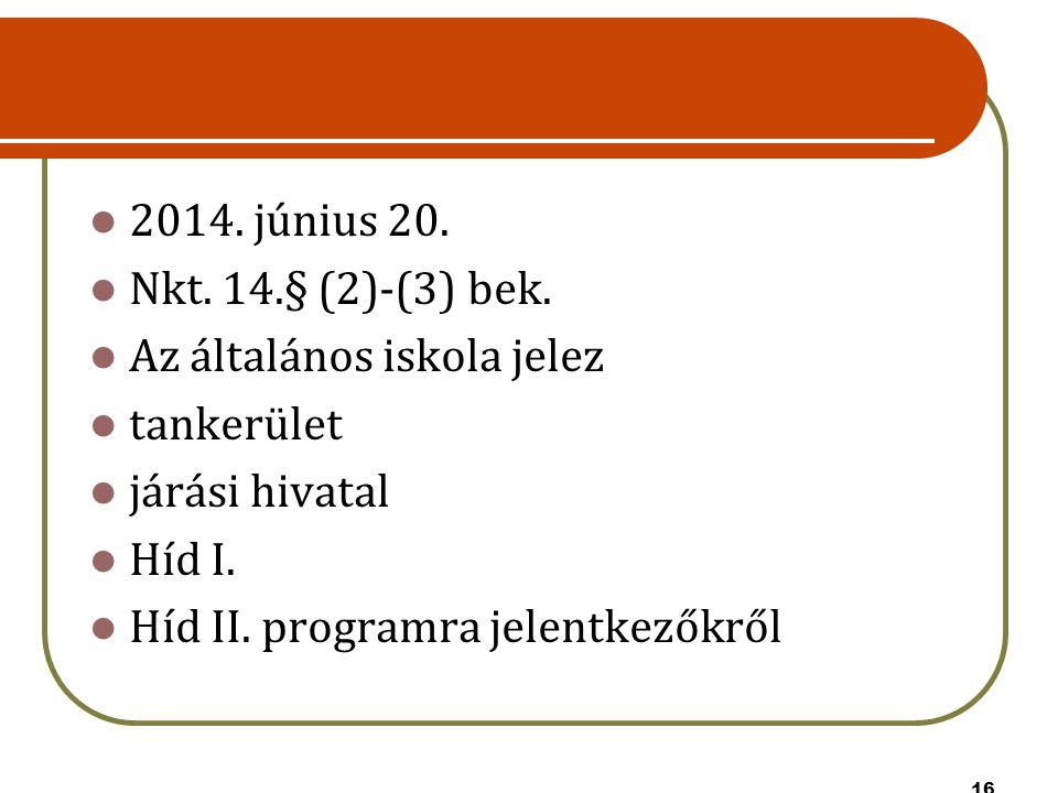 16 2014. június 20. Nkt. 14.§ (2)-(3) bek. Az általános iskola jelez tankerület járási hivatal Híd I. Híd II. programra jelentkezőkről