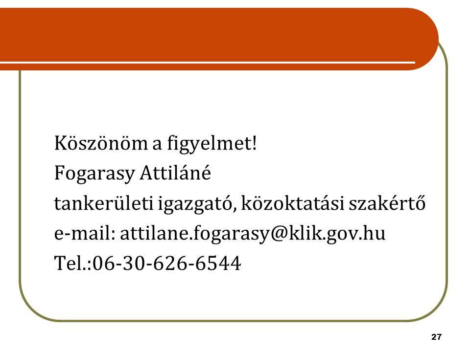 27 Köszönöm a figyelmet! Fogarasy Attiláné tankerületi igazgató, közoktatási szakértő e-mail: attilane.fogarasy@klik.gov.hu Tel.:06-30-626-6544