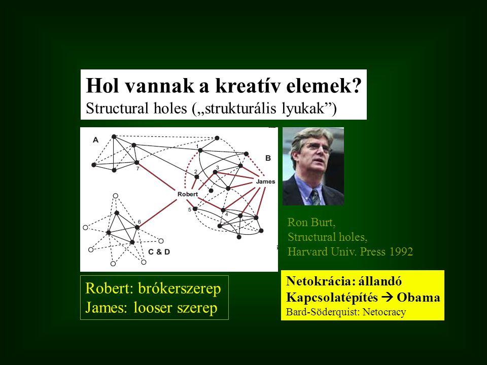 """Robert: brókerszerep James: looser szerep Hol vannak a kreatív elemek? Structural holes (""""strukturális lyukak"""") Ron Burt, Structural holes, Harvard Un"""