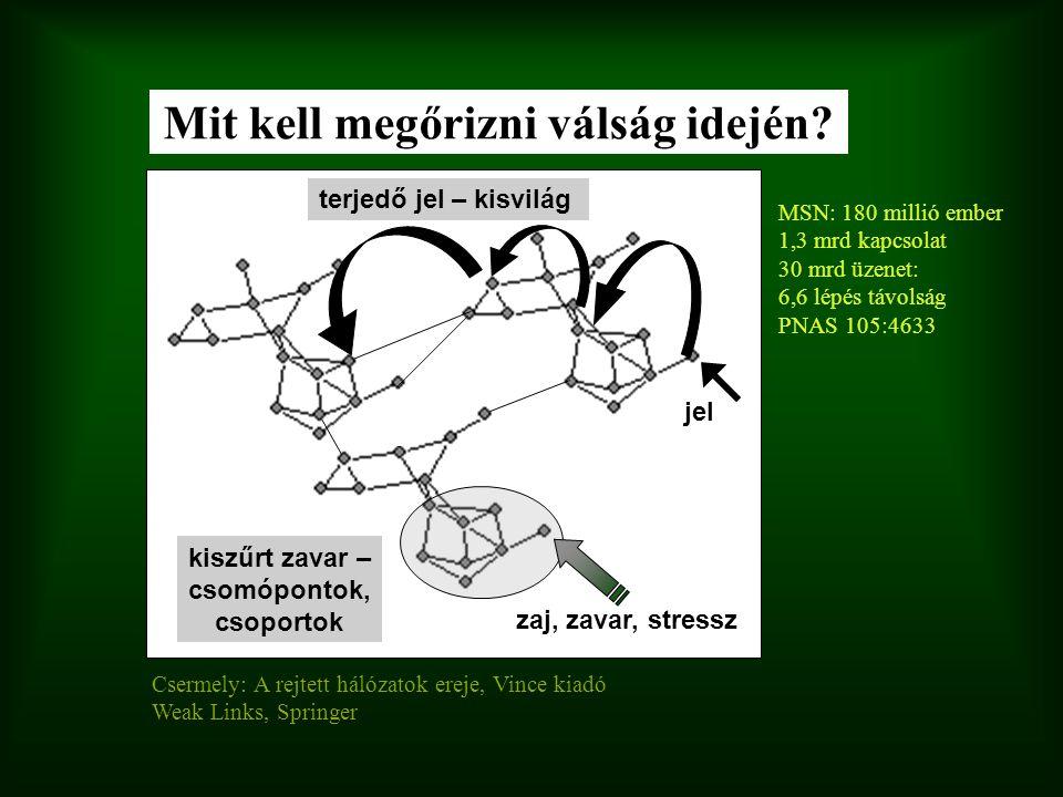 zaj, zavar, stressz kiszűrt zavar – csomópontok, csoportok jel terjedő jel – kisvilág Csermely: A rejtett hálózatok ereje, Vince kiadó Weak Links, Spr