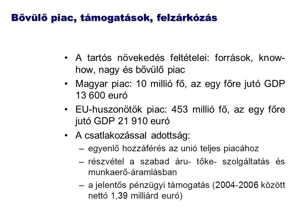 Bővülő piac, támogatások, felzárkózás A tartós növekedés feltételei: források, know- how, nagy és bővülő piac Magyar piac: 10 millió fő, az egy főre jutó GDP 13 600 euró EU-huszonötök piac: 453 millió fő, az egy főre jutó GDP 21 910 euró A csatlakozással adottság: –egyenlő hozzáférés az unió teljes piacához –részvétel a szabad áru- tőke- szolgáltatás és munkaerő-áramlásban –a jelentős pénzügyi támogatás (2004-2006 között nettó 1,39 milliárd euró)