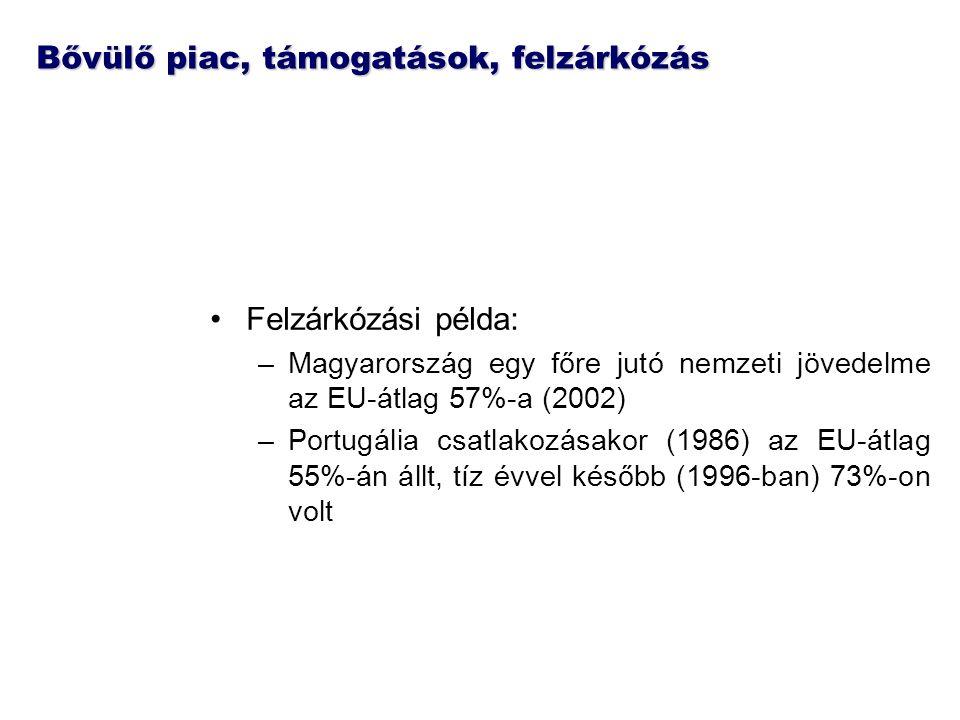 Bővülő piac, támogatások, felzárkózás Felzárkózási példa: –Magyarország egy főre jutó nemzeti jövedelme az EU-átlag 57%-a (2002) –Portugália csatlakoz
