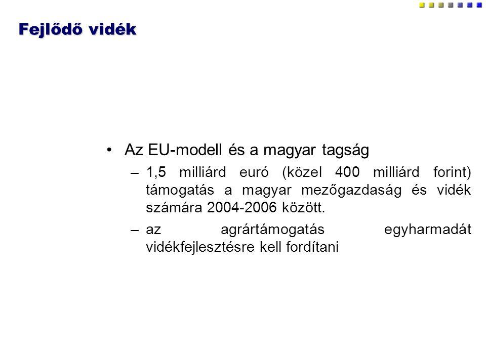 Fejlődő vidék Az EU-modell és a magyar tagság –1,5 milliárd euró (közel 400 milliárd forint) támogatás a magyar mezőgazdaság és vidék számára 2004-2006 között.