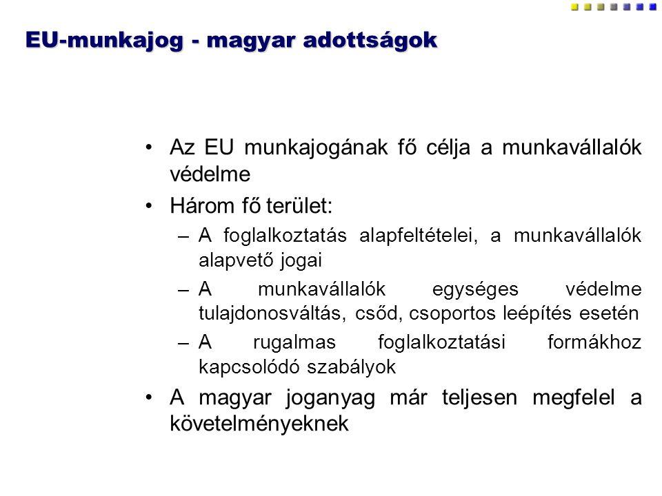 EU-munkajog - magyar adottságok Az EU munkajogának fő célja a munkavállalók védelme Három fő terület: –A foglalkoztatás alapfeltételei, a munkavállalók alapvető jogai –A munkavállalók egységes védelme tulajdonosváltás, csőd, csoportos leépítés esetén –A rugalmas foglalkoztatási formákhoz kapcsolódó szabályok A magyar joganyag már teljesen megfelel a követelményeknek