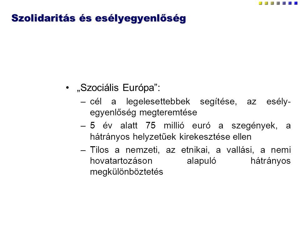 """Szolidaritás és esélyegyenlőség """"Szociális Európa : –cél a legelesettebbek segítése, az esély- egyenlőség megteremtése –5 év alatt 75 millió euró a szegények, a hátrányos helyzetűek kirekesztése ellen –Tilos a nemzeti, az etnikai, a vallási, a nemi hovatartozáson alapuló hátrányos megkülönböztetés"""