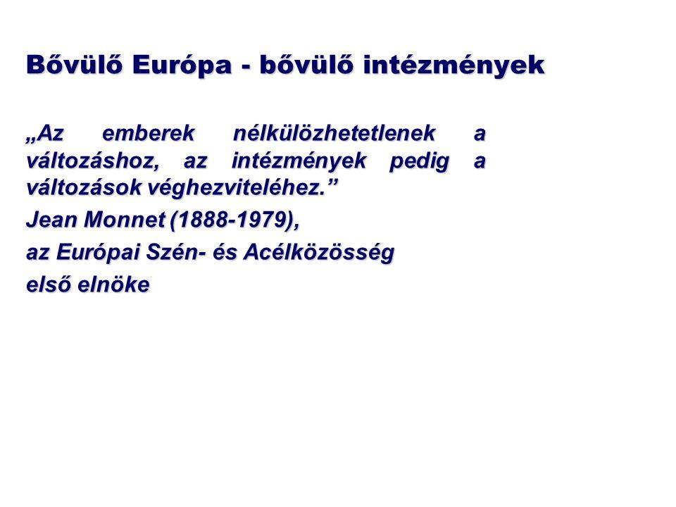 """Bővülő Európa - bővülő intézmények """"Az emberek nélkülözhetetlenek a változáshoz, az intézmények pedig a változások véghezviteléhez."""" Jean Monnet (1888"""