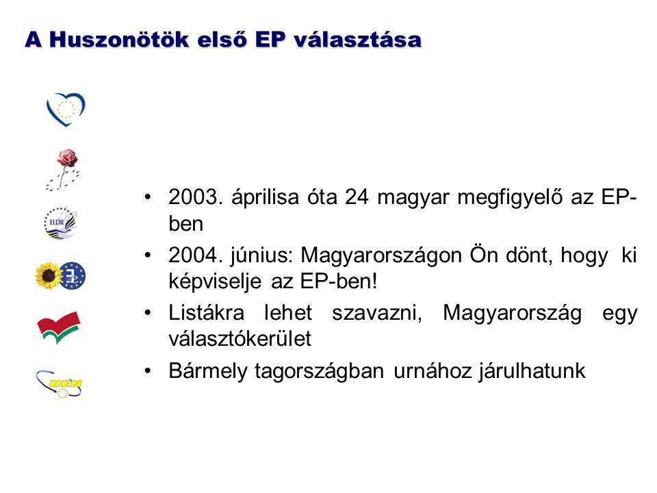 A Huszonötök első EP választása 2003.áprilisa óta 24 magyar megfigyelő az EP- ben 2004.