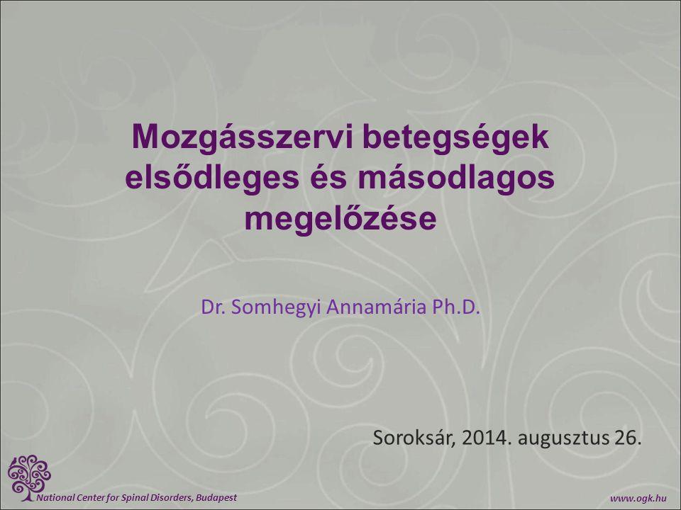 National Center for Spinal Disorders, Budapest www.ogk.hu Mozgásszervi betegségek elsődleges és másodlagos megelőzése Dr. Somhegyi Annamária Ph.D. Sor