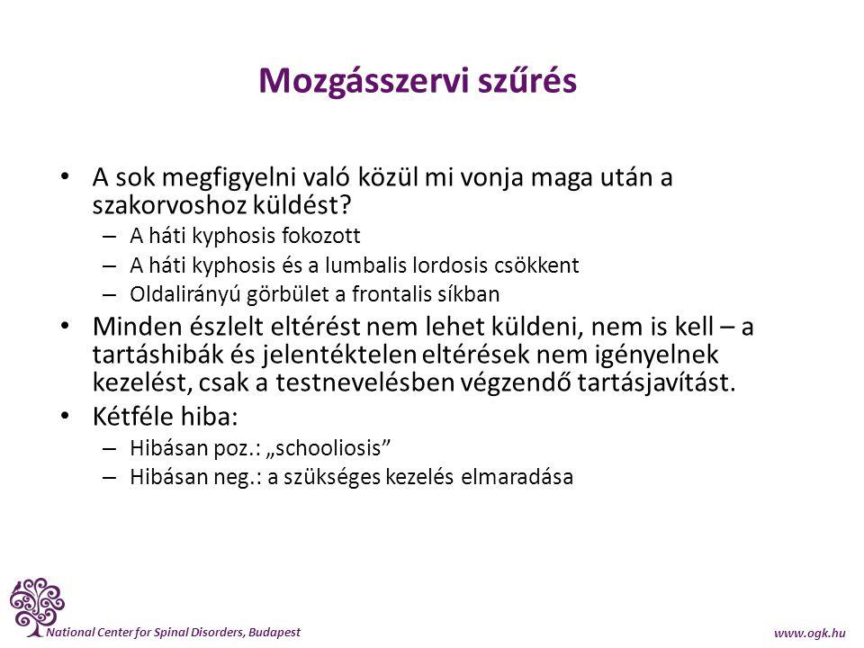 National Center for Spinal Disorders, Budapest www.ogk.hu Mozgásszervi szűrés A sok megfigyelni való közül mi vonja maga után a szakorvoshoz küldést?