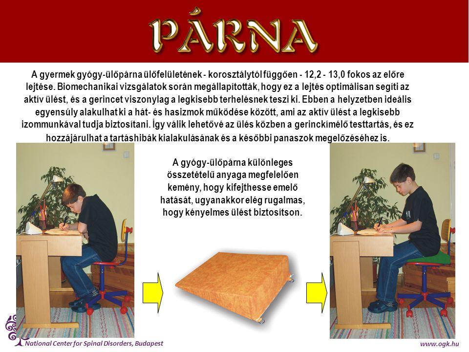 National Center for Spinal Disorders, Budapest www.ogk.hu A gyermek gyógy-ülőpárna ülőfelületének - korosztálytól függően - 12,2 - 13,0 fokos az előre