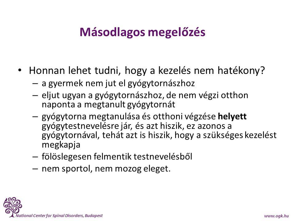National Center for Spinal Disorders, Budapest www.ogk.hu Másodlagos megelőzés Honnan lehet tudni, hogy a kezelés nem hatékony? – a gyermek nem jut el