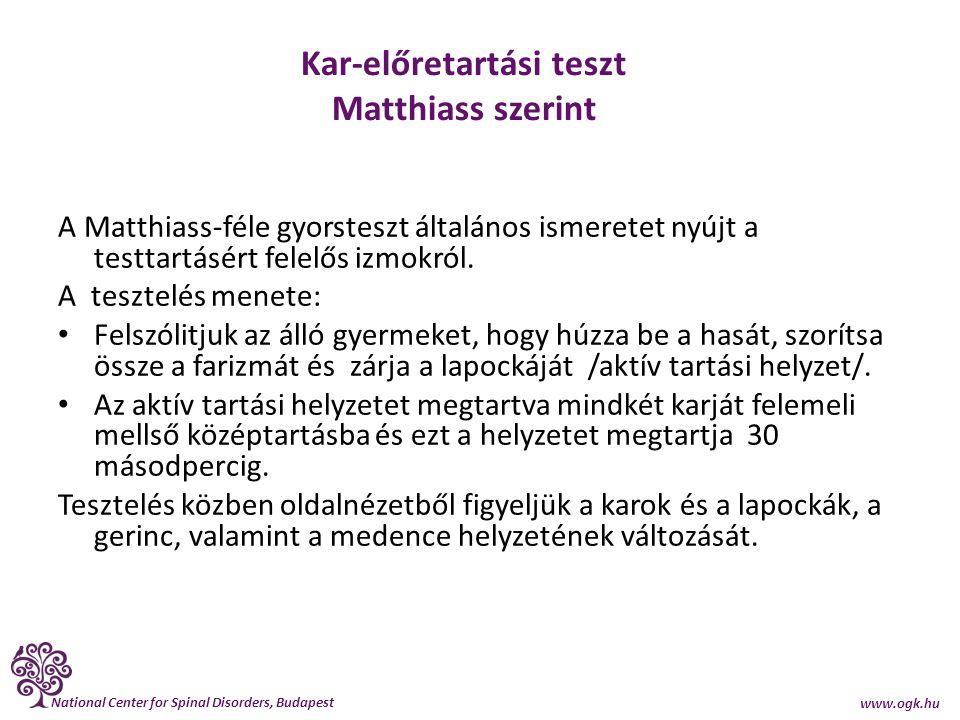 National Center for Spinal Disorders, Budapest www.ogk.hu Kar-előretartási teszt Matthiass szerint A Matthiass-féle gyorsteszt általános ismeretet nyú
