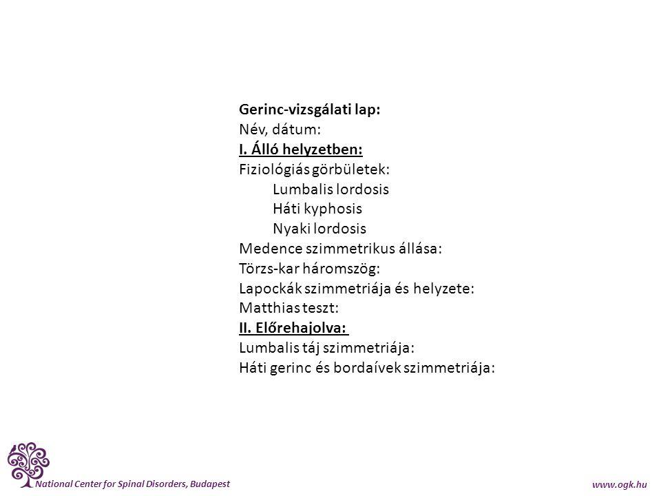 National Center for Spinal Disorders, Budapest www.ogk.hu Gerinc-vizsgálati lap: Név, dátum: I. Álló helyzetben: Fiziológiás görbületek: Lumbalis lord