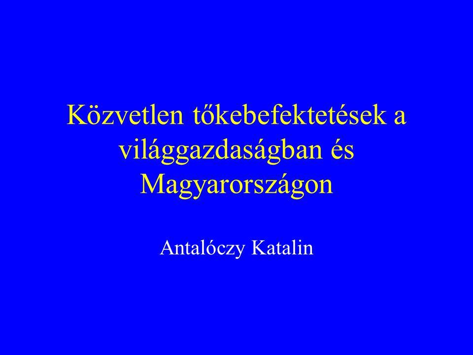 Közvetlen tőkebefektetések a világgazdaságban és Magyarországon Antalóczy Katalin