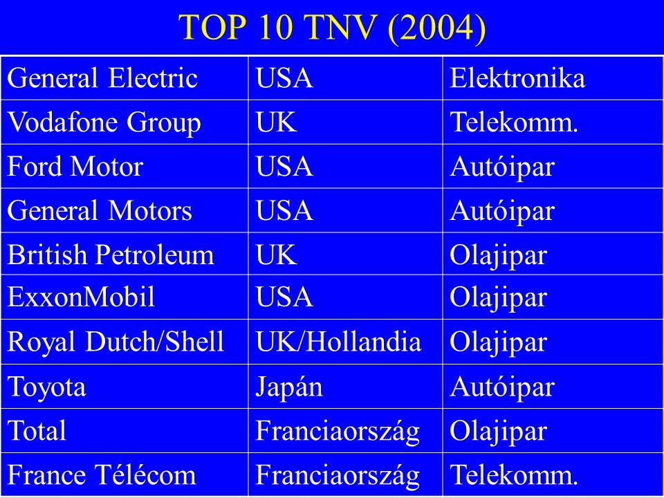 TOP 10 TNV (2004) General ElectricUSAElektronika Vodafone GroupUKTelekomm.