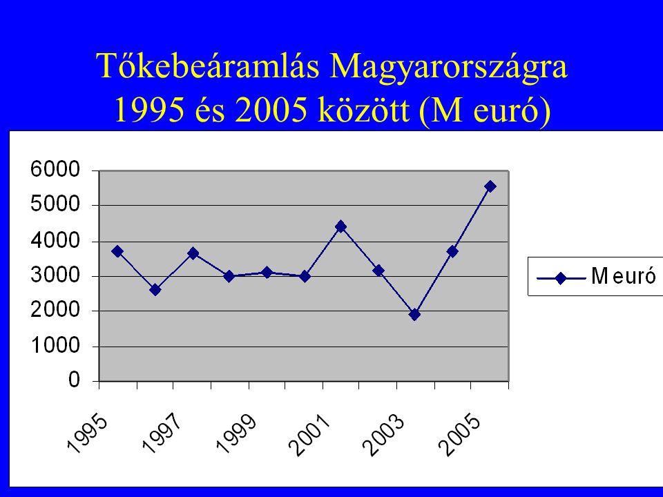 Tőkebeáramlás Magyarországra 1995 és 2005 között (M euró)